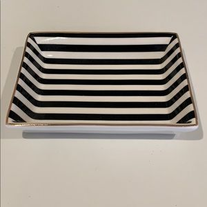 J. Crew Black & Ivory Stripes Ceramic Jewelry Tray